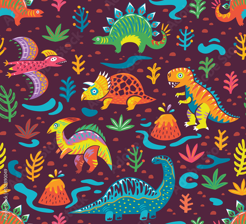 Cotton fabric Seamless pattern with cartoon dinosaurs