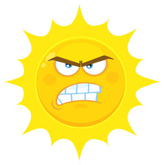 Angry Yellow Sun Cartoon Emoji Face Character With Aggressive Expressions. Illustration Isolated On White Background
