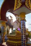 Koh Samui, Thailand - January 01, 2015: Scene with god statue what hold sun on here hand