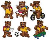 cartoon character set of cute little bear
