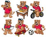 cartoon character set of cute little lion