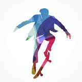 silhouette homme,skateboard