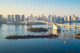 Tokyo skyline with Tokyo harbor in Japan