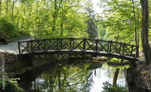 Old wooden bridge in the park