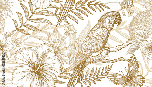 Seamless pattern with exotic plants and parrots. - 152959420