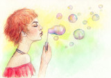 Summer. Bubble blowers. Watercolor painting