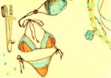 Summer. Clothes accessories and shoes. Fashion illustration. Watercolor painting