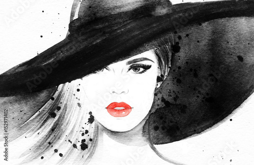 Zdjęcia na płótnie, fototapety na wymiar, obrazy na ścianę : Beautiful woman in hat. Fashion illustration. Watercolor painting