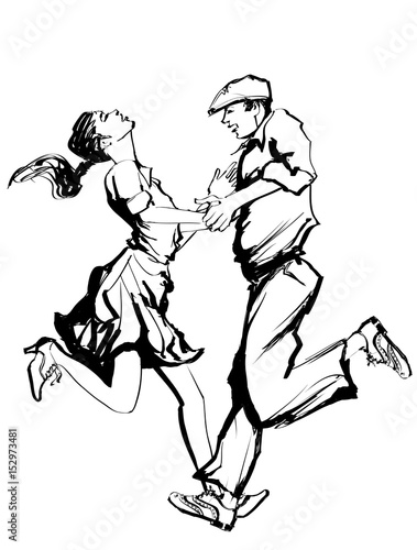 Deurstickers Art Studio Woman and man dancing swing