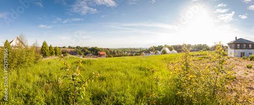 canvas print picture Bauland im Grünen fertig zur Erschließung