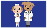 Dog character doctor and nurse concept