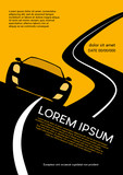 Car racing on the road. Vector poster Background