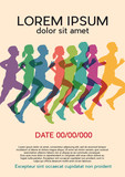 runners at the marathon. Vintage poster, vector background