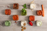 selection of delicious sauces inside jar - 152998005