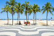 Quadro Bright scenic view of Copacabana Beach with palm trees beside the iconic boardwalk in Rio de Janeiro, Brazil