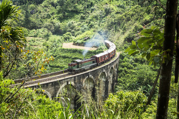 Train on the nine arch bridge, Ella, Sri Lanka