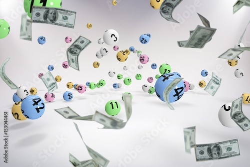 Poster Composite image of falling one hundred dollar bills
