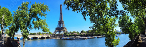Papiers peints Tour Eiffel Paris mit Seine und Eiffelturm / Tour Eiffel / Eiffeltower - Panorama Banner