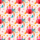 Seamless pattern with little princess mermaid with castle. Vector sweet turquoise  underwater background with plant, sea shell, coral leaf, starfish, anemone and banner fish.