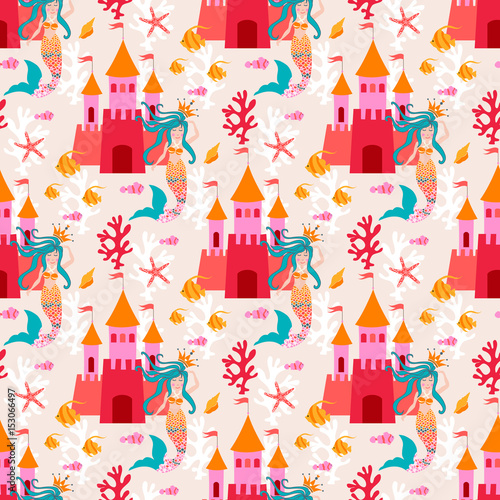 Fototapeta Seamless pattern with little princess mermaid with castle. Vector sweet turquoise underwater background with plant, sea shell, coral leaf, starfish, anemone and banner fish.