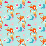 Seamless pattern with mermaid. Vector background nice underwater with starfish, anemone and banner fish.