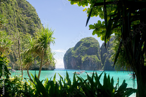 Island and sea View in Maya Bay , Krabi Province thailand Poster