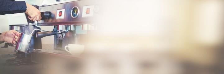 Barista steaming milk from coffee machine © vectorfusionart