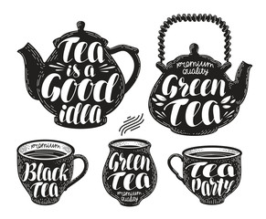 Tea label set. Teapot, cup, hot drink icon or symbol. Handwritten lettering, calligraphy vector illustration