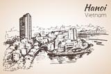 Hanoi cityscape Vietnam. Sketch. - 153087876