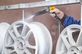 Process of powder coating auto disks - 153090228