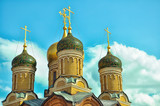 Cathedral of the Znamensky Monastery. Golden domes. Moscow.