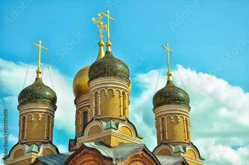 Cathedral of the Znamensky Monastery. Golden domes. Moscow. Poster