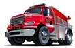 Vector Cartoon Fire Truck. Available EPS-10 vector format separated by groups and layers for easy edit - 153108292
