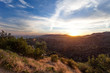 Los Angeles, view from Griffith Park at the Hollywood hills at sunset, southern California, United States of America