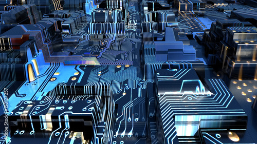 illustration of an electronic city - 153127257