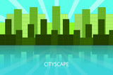City landscape background, cityscape vector illustration in green colors