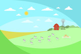 Farm landscape with cows and windmill in flat style.
