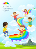 Children having fun laughing, singing and playing in the sky full of clouds, rainbow and a beautiful landscape below them.