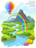 Children flying in a balloon and having fun over a beautiful landscape.