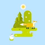 Fox and a hare in a forest. Landscape. Vector flat illustration.