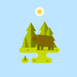 Bear with forest background. Landscape. Vector flat illustration.