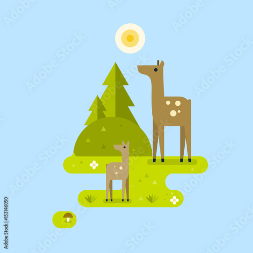 Fotobehang Zoo Deer with fawn in a forest. Landscape. Vector flat illustration.