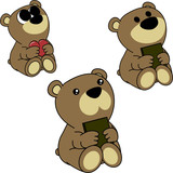 lovely cute little baby bear cartoon set in vector format very easy to edit