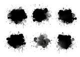 Abstract paint splashes set for design use. Splatter template set. Grunge vector illustration background. - 153187274