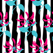 Seamless pattern. Pink flowers lonicera on black and white. Vector background. - 153200848