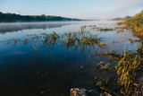 Foggy morning at Oka river. Russia. - 153211281