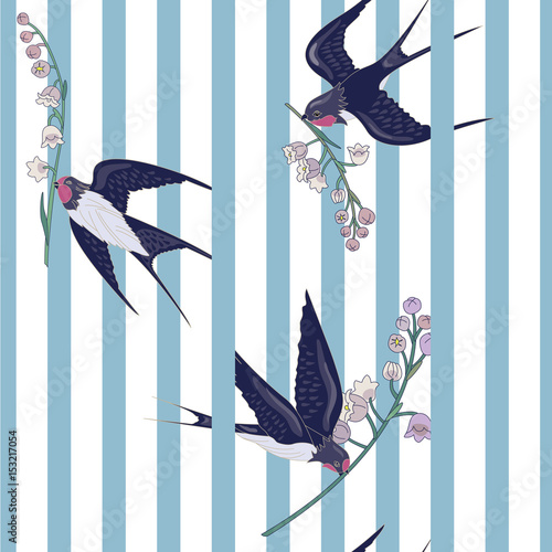 Materiał do szycia Seamless striped pattern with birds and flowers. Swallows with lilies of the valley. Animal Pattern. Can be used for textile, manufacturing, book covers, wallpapers, print or gift wrap. Vector illustr