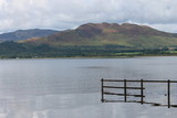 Loch Lomond, Scotland. View across Loch lake from low perspective boat in view