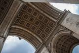 Upwards view beyond Arc de Triomphe in Paris