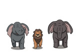 Elephant and Lion. Concept Illustration, Abstract Clip Art.